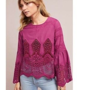 Anthropologie Chloe Oliver XS Bell Sleeve Lace Top